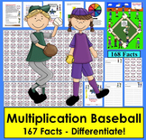 Multiplication Games: Baseball Activities Math Centers- 4 Ways to Play!