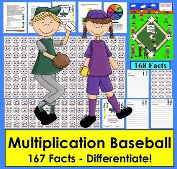 Multiplication Games: Baseball Activities Math Centers- 4 Ways to Play!