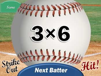 Multiplication Games: Interactive Baseball PowerPoint Game NO PREP