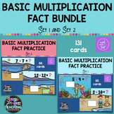 Multiplication Basic Fact Practice Bundle Set 1 & Set 2 - Boom Cards