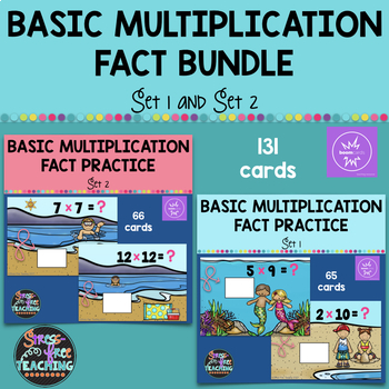 Multiplication Basic Fact Practice Bundle Set 1 & Set 2 - Boom Cards