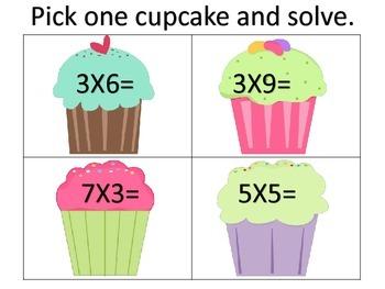 Multiplication Basic Fact Practice---Cupcake Theme