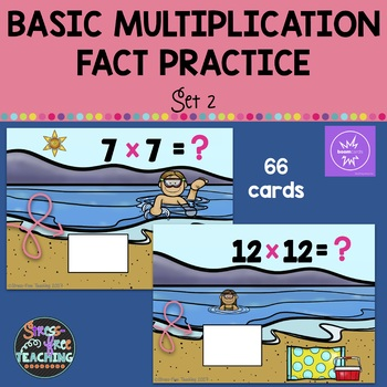 Multiplication Basic Fact Practice Set 2 - Boom Cards