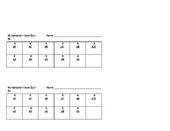 Multiplication Basic Fact Quizzes