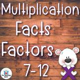 Multiplication Basic Facts 7-12 Factors Practice