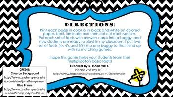 Multiplication Basic Facts Matching Game