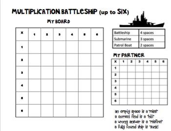Multiplication Battleship - Up to X6