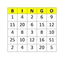 Multiplication Bingo 1 Times Tables to 5 Times Tables