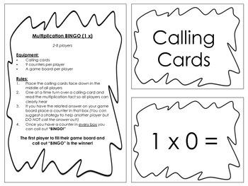 Multiplication Bingo 1x