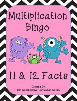 Multiplication Bingo: 11 and 12 Facts (Monster Themed)