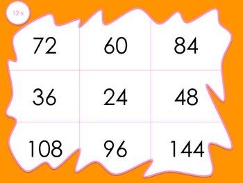 Multiplication Bingo 12x