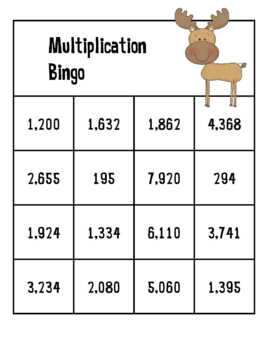 Multiplication Bingo 2-Digit by 2-Digit