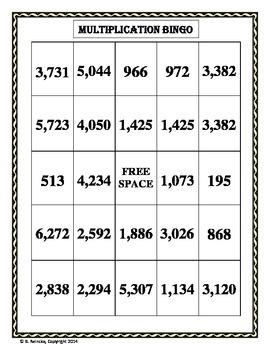 Multiplication Bingo 2-Digit by 2-Digit (30 pre-made cards!!!)