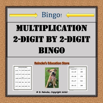 Multiplication Bingo 2-Digit by 2-Digit (30 pre-made cards!!!)