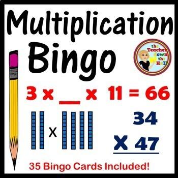 Double Digit Multiplication Bingo - Classroom Game w/ 35 Cards!