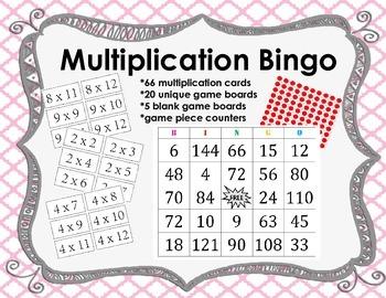 Multiplication Bingo (2s-12s)