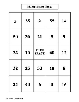 Multiplication Bingo 2's, 3's, 4's, and 5's (30 pre-made cards!) Fluency