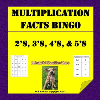 Multiplication Bingo 2's, 3's, 4's, and 5's (30 pre-made c