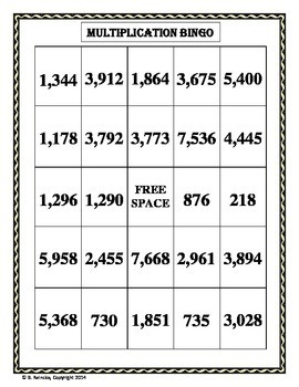 Multiplication Bingo 3-Digit by 1-Digit (30 pre-made cards!!!)
