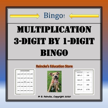 Multiplication Bingo 3-Digit by 1-Digit (30 pre-made cards!!!)