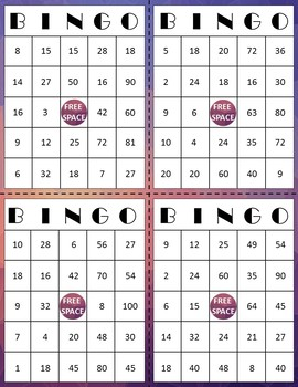 Multiplication Bingo - 36 Bingo Playing Cards