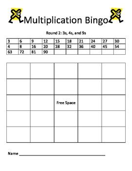 Multiplication Bingo: 3s, 4s, 9s