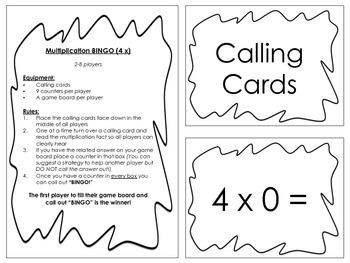 Multiplication Bingo 4x