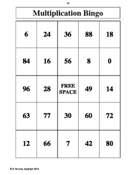 Multiplication Bingo 6's, 7's, and 8's (30 pre-made cards!) Fluency