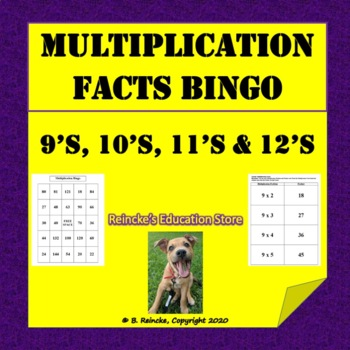 Multiplication Bingo 9's, 10's, 11's, and 12's (30 pre-made cards!)