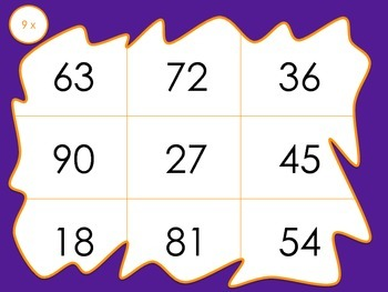 Multiplication Bingo 9x