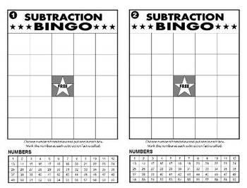 Multiplication Bingo, Addition Bingo, Subtraction Bingo