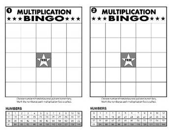 Multiplication Bingo, Addition Bingo, Subtraction Bingo