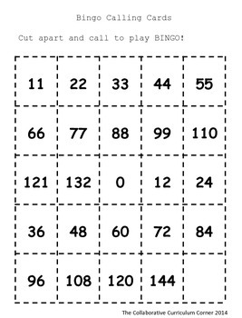 Multiplication Bingo: Facts 11 and 12 (Thanksgiving Edition)
