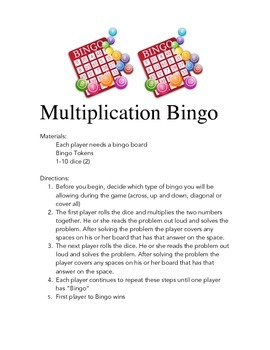 Multiplication Game : Multiplication BINGO