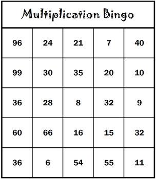 Multiplication Bingo: Multiplication Fact Practice, Multip