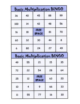 Multiplication Bingo - Practicing Basic Facts