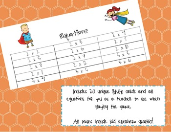 Multiplication Bingo - Superhero Themed