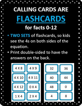 Multiplication Bingo - Times 4 Facts (30 pre-made cards, flashcards, & more!)