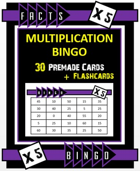 Multiplication Bingo - Times 5 Facts (30 pre-made cards, f