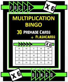 Multiplication Bingo - Times 6 Facts (30 pre-made cards, flashcards, & more!)