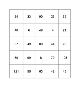 Multiplication Bingo Times Table 2 to 12