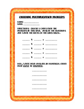 Multiplication Bingo and Multiplication Story Problems