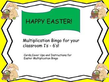 Multiplication Bingo for your classroom 1's - 6's!