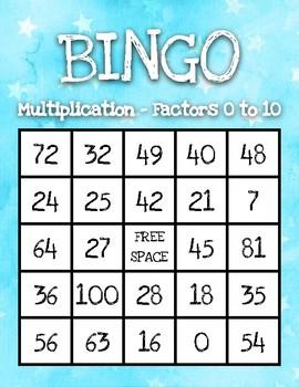 Multiplication Bingo (up to 10 x 10) - Beautiful Watercolor Design!