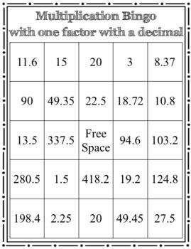 Multiplication Bingo with one decimal factor