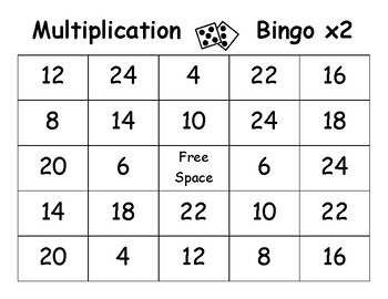 Multiplication Bingo - x2 - x12 - 44 Different Cards!