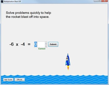 Multiplication Game with Negative Numbers: Multiply Negatives Game--Blast Off