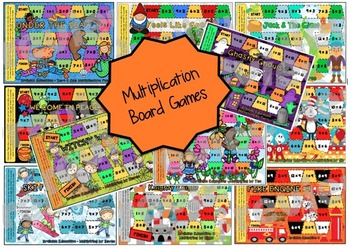 Multiplication Board Game BUNDLE - Set of 12 Board Games