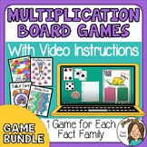 Multiplication Board Games with Video Directions - Great f