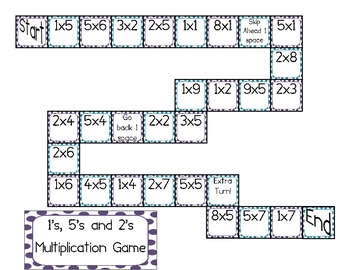 Multiplication Board game for 1's, 2's and 5's